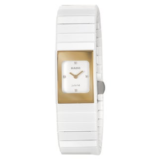 Rado Women's 'Ceramica' Ceramic Swiss Quartz Watch with Diamond Accents