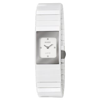 Rado Women's 'Ceramica' White Diamond-accented Ceramic Swiss Quartz Watch