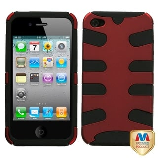 INSTEN Titanium Red/ Black Fishbone Phone Case Cover for Apple iPhone 4/ 4S
