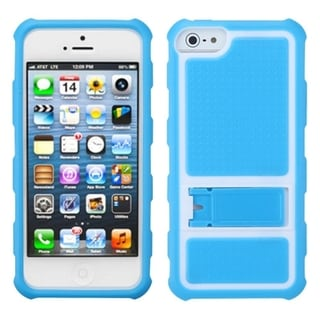 INSTEN Baby Blue Gummy Armor Stand Phone Case for Apple iPhone 5/ 5S/ SE