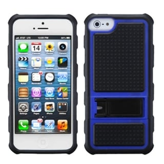 INSTEN Dark Blue Gummy Armor Stand Phone Case for Apple iPhone 5/ 5S/ SE