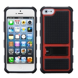 INSTEN Red Gummy Armor Stand Phone Case for Apple iPhone 5/ 5S/ SE