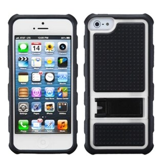 INSTEN White Gummy Armor Stand Phone Case for Apple iPhone 5/ 5S/ SE