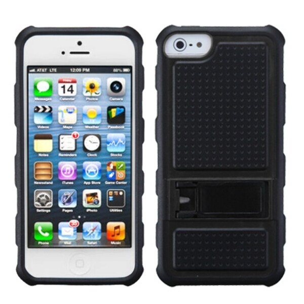 BasAcc Black Gummy Armor Stand Case for Apple iPhone 5