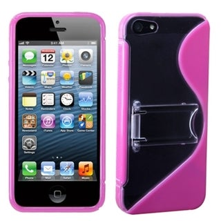 INSTEN Clear/ Solid Hot Pink S Shape Gummy Phone Case for Apple iPhone 5/ 5S/ SE