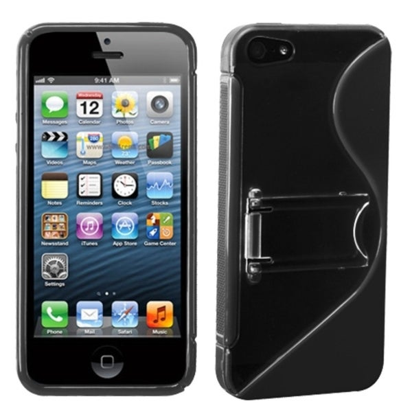 INSTEN Clear/ Black S Shape Gummy Phone Case Cover with Stand for Apple iPhone 5