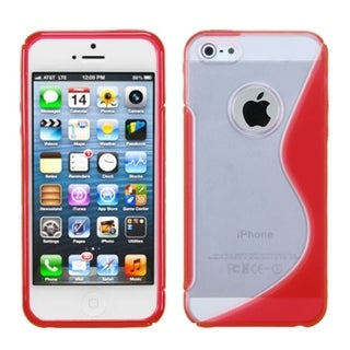 INSTEN Clear/ Solid Red S Shape Gummy Phone Case for Apple iPhone 5/ 5S/ SE