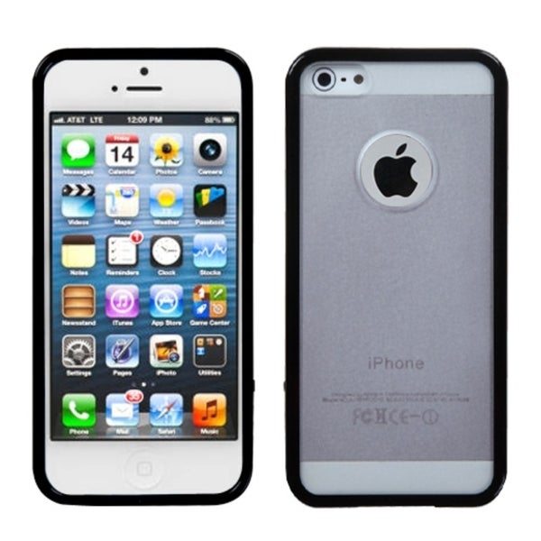 INSTEN Transparent Clear/ Solid Black Gummy Phone Case Cover for Apple iPhone 5
