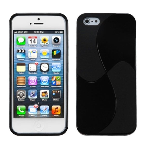 INSTEN Solid Black Windmill Candy Skin Phone Case Cover for Apple iPhone 5