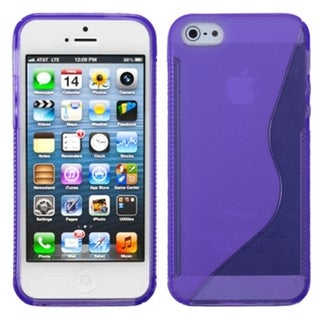 INSTEN Purple S Shape Candy Skin Phone Case for Apple iPhone 5/ 5S/ SE