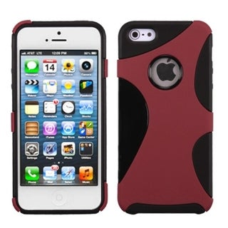INSTEN Red/ Black Cragsman Mixy Rubberized Phone Case for Apple iPhone 5/ 5S/ SE