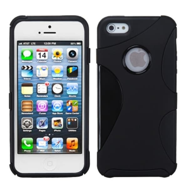 INSTEN Black/ Black Cragsman Mixy Rubberized Phone Case Cover for Apple iPhone 5