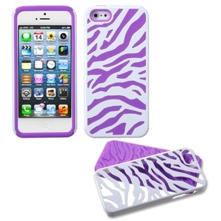 INSTEN Purple White Zebra Protector Phone Case for Apple iPhone 5/ 5S/ 5C/ SE
