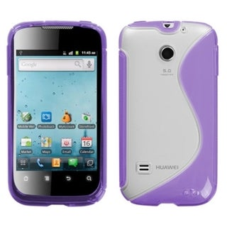 INSTEN Clear/ Purple S-shape Phone Case Cover for Huawei M865 Ascend II