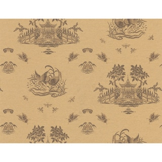 Brewster Light Brown Chinoiserie Toile Wallpaper