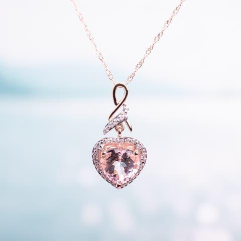 Miadora 10k Rose Gold Morganite and Diamond Halo Heart Pendant Necklace (H-I, I2-I3) - 17 in x 11.1 mm x 23 mm x 11 mm