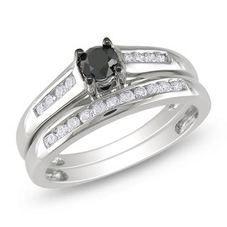 Miadora 14k White Gold 1/2ct TDW Black and White Diamond Bridal Ring Set