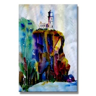 Metal Wall Art Decor Sculpture Lighthouse 'SPLIT ROCK'