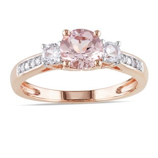 10k Rose Gold Morganite and Created White Sapphire 3-Stone Engagement Ring with Diamond Accents by M