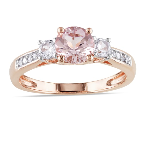 10k Rose Gold Morganite and Created White Sapphire 3-Stone Engagement Ring with Diamond Accents by Miadora