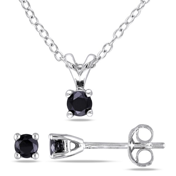 Miadora Sterling Silver Black Diamond Necklace and Earrings Set