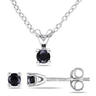 Miadora Sterling Silver Black Diamond Solitaire Necklace and Earrings Set