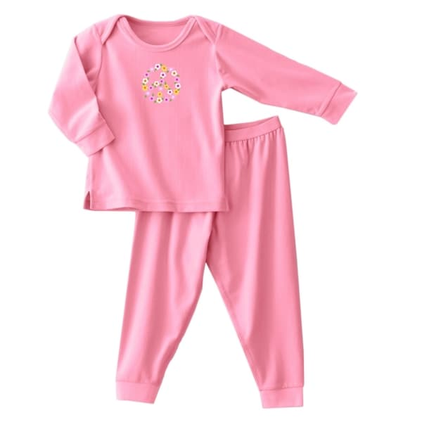 Halo Girls 2-piece Flannel Set in Pink Peace