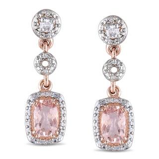 Miadora 10k Rose Gold Morganite and 1/10ct TDW Diamond Earrings