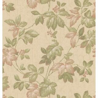 Brewster Green Leaves & Berries Wallpaper