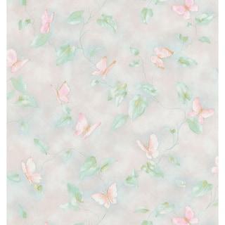 Brewster Light Grey Butterfly Vine Wallpaper