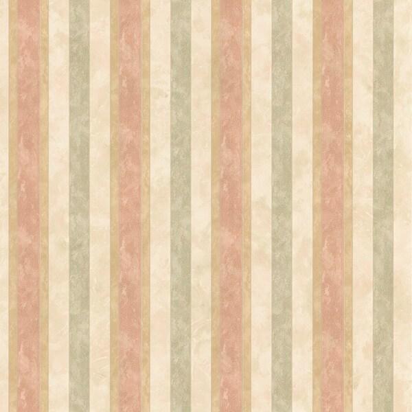 Brewster Salmon Textured Stripe Wallpaper
