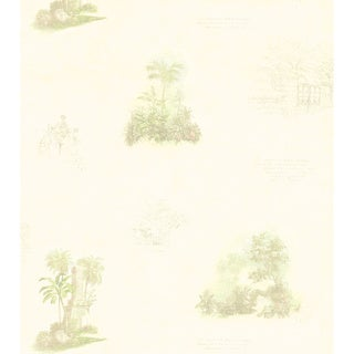 Brewster White Tropical Toile Wallpaper