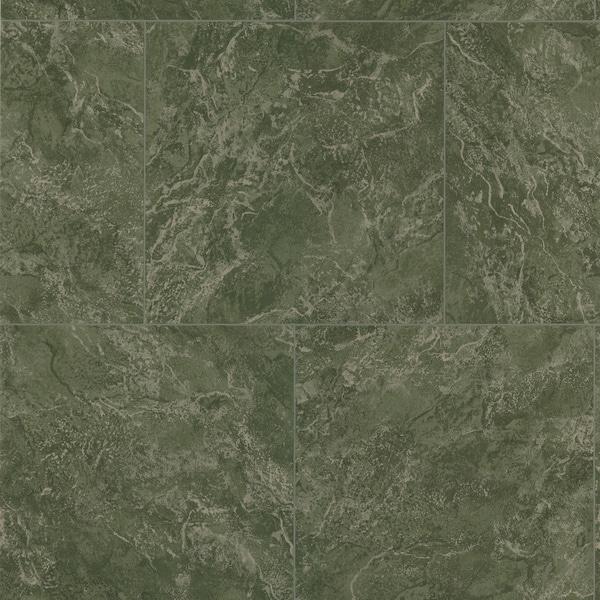 Brewster Dark Green Marble Tile Wallpaper