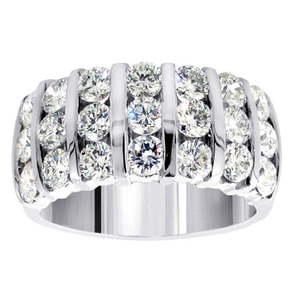 14k White Gold 3ct TDW Diamond 7-row Bar Channel Anniversary Ring