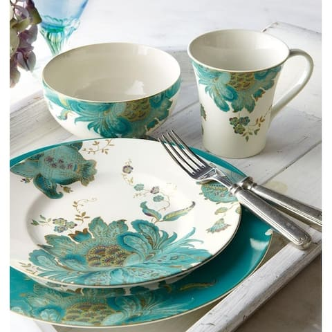222 Fifth Eliza Teal 16 Piece Porcelain Dinnerware Set, Service for 4
