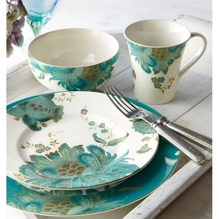 222 Fifth Eliza Teal 16 Piece Porcelain Dinnerware Set, Service for 4