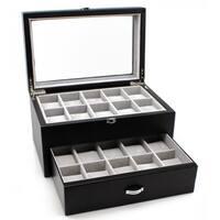 Heiden Premier Black Leather Watch Box (20 watches)