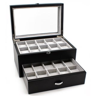Heiden Premier Black Leather Watch Box (20 watches)