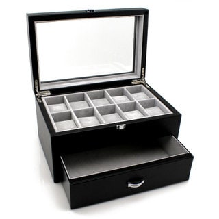 Heiden Premier Black Leather 10-piece Watch Box