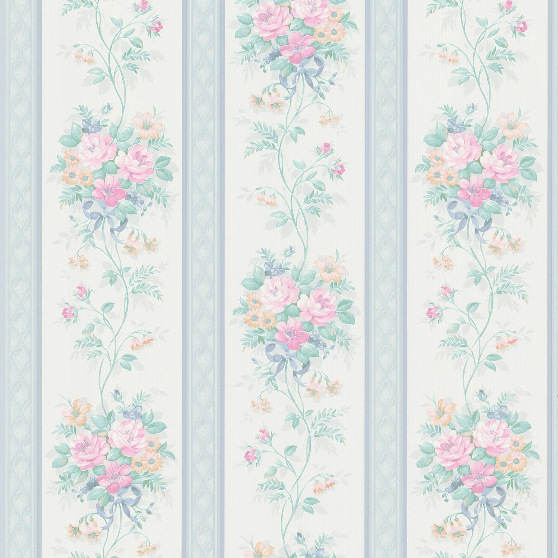 Shop Brewster Light Blue Floral Stripe Wallpaper Overstock 8146593