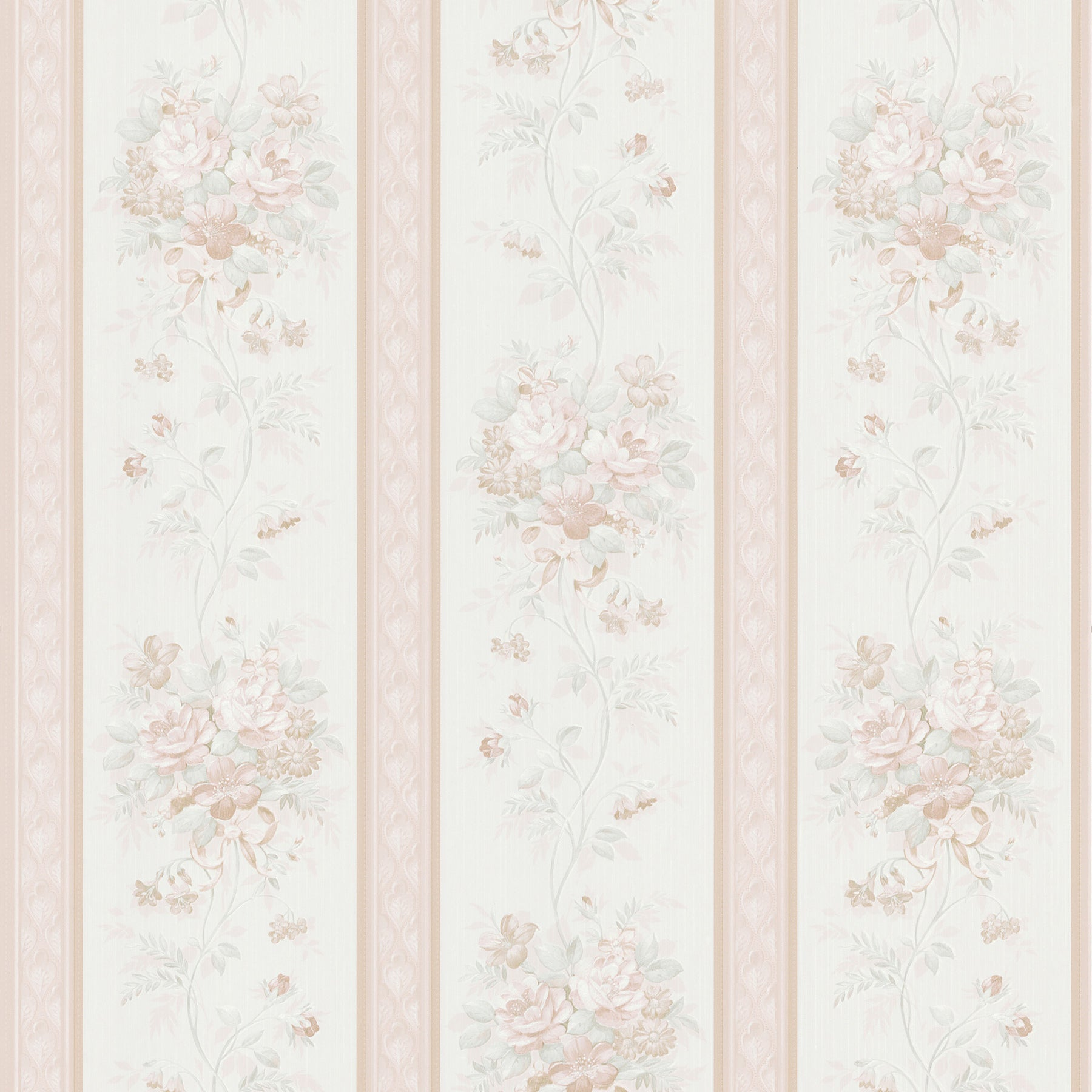 Shop Brewster Peach Floral Stripe Wallpaper Free Shipping On