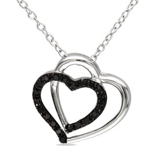 Sterling Silver 1/10ct TDW Black Diamond Double Heart Necklace