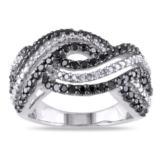 Miadora Sterling Silver 1ct TDW Black and White Diamond Multi-row Crossover Ring