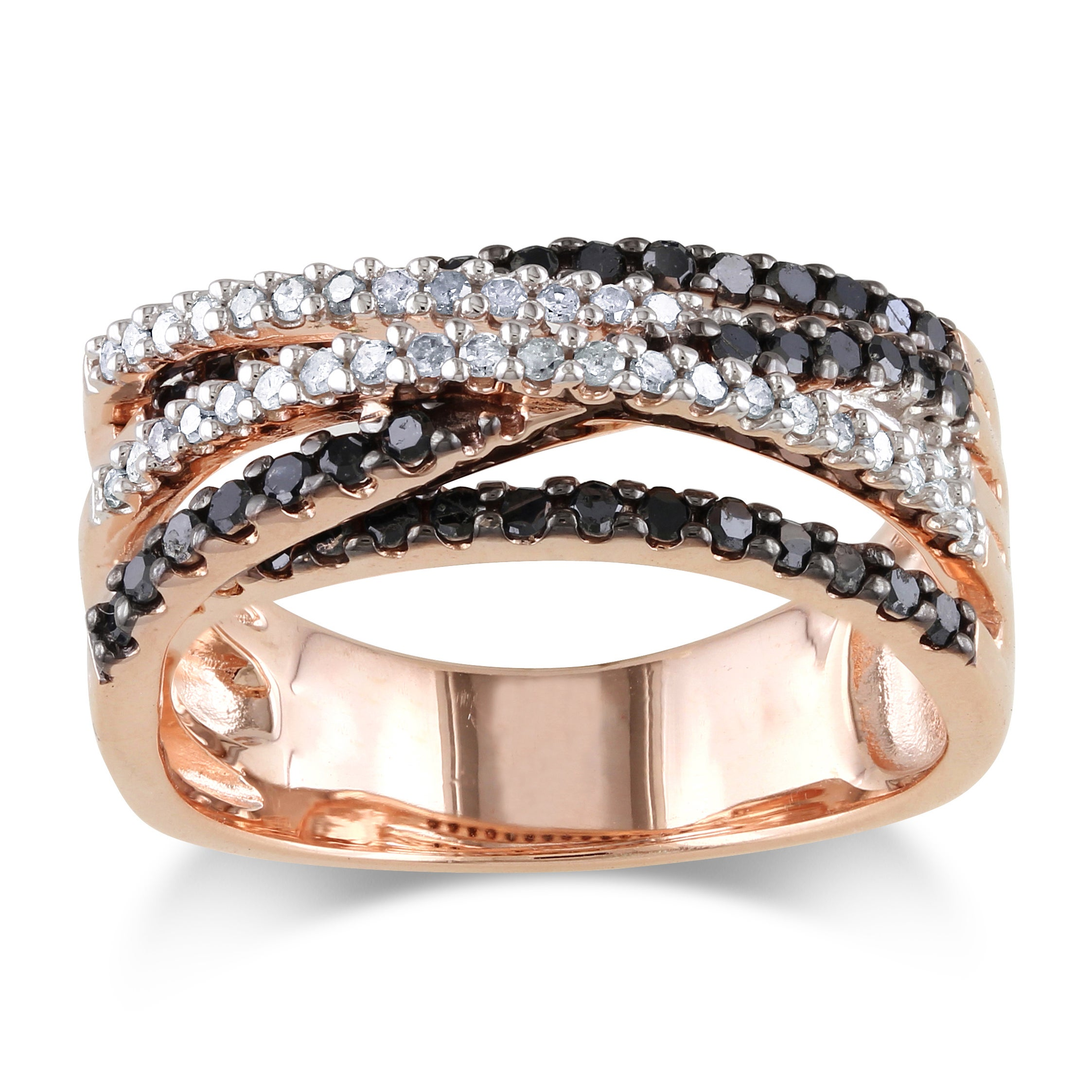 Miadora Rose Plated Silver 3/5ct TDW Black and White Diamond Ring