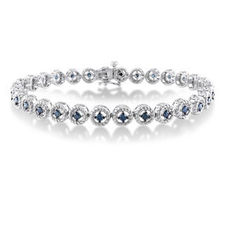 Miadora Sterling Silver 1ct TDW Blue Diamond Bracelet