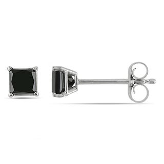 Miadora 10k White Gold 1/2ct TDW Princess-Cut Black Diamond Stud Earrings