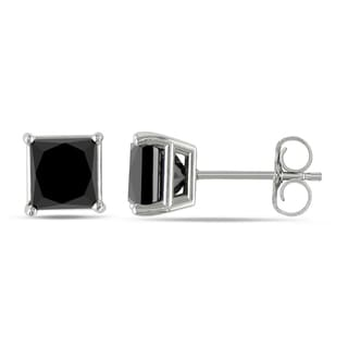 Miadora 10k White Gold 2ct TDW Princess-Cut Black Diamond Stud Earrings