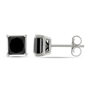 Miadora 10k White Gold 2ct TDW Princess-Cut Black Diamond Stud Earrings