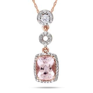 Miadora 10k Rose Gold Morganite and 1/10ct Diamond Necklace