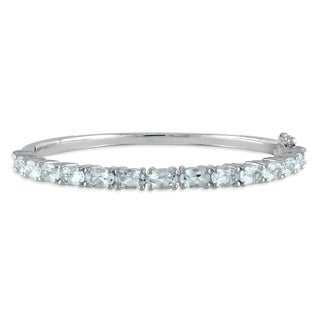 Miadora Sterling Silver 6ct TGW Aquamarine Bangle